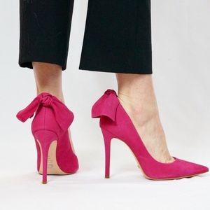 SCHUTZ   Pink Suede Bow Pointed toe Heels